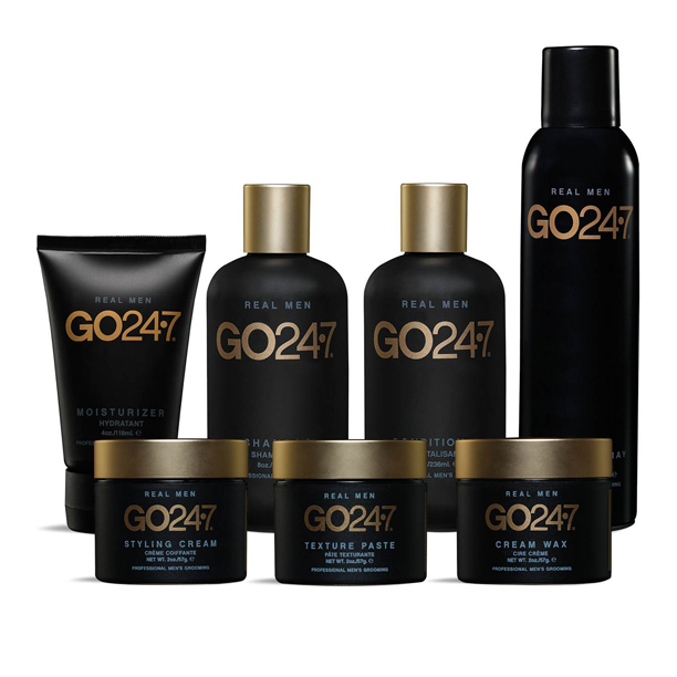 GO24/7 mens hair product range used at Adrian J Hair Salon Sunshine Beach Noosa